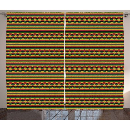 Kente Pattern Curtains 2 Panels Set, Traditional African Pattern in Lively Colors Indigenous Culture Folklore, Window Drapes for Living Room Bedroom, 108W X 63L Inches, Multicolor, by Ambesonne