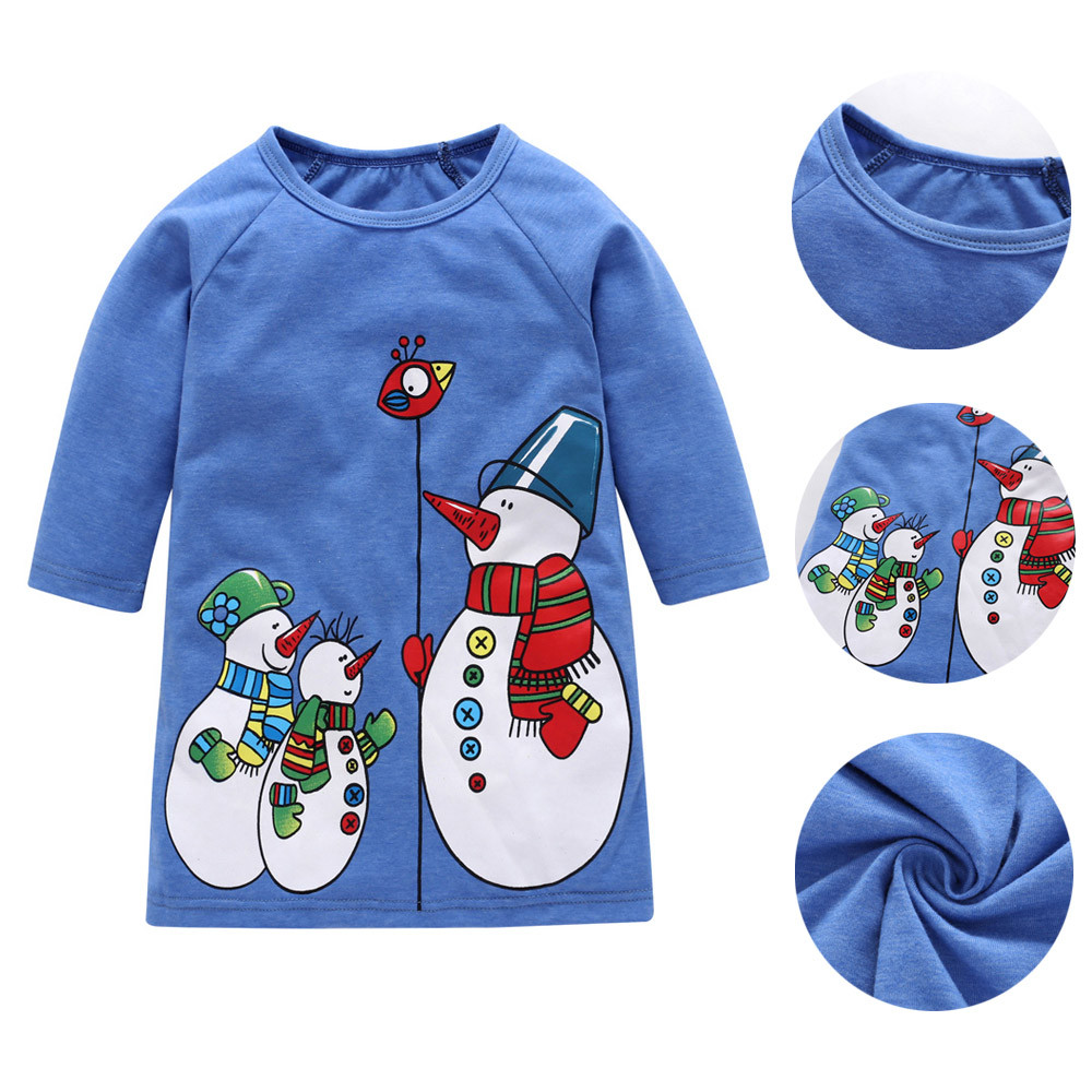 Mosunx Toddler Baby Kids Girls Christmas XMAS Cartoon Snowman Print Dresses Outfits