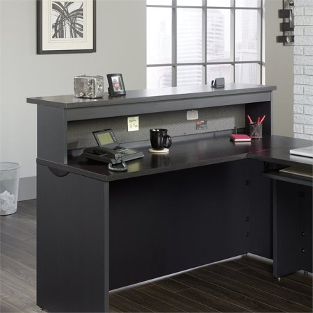 Sauder Via Reception Desk in Bourbon - Oak Roll Top Secretary Desk