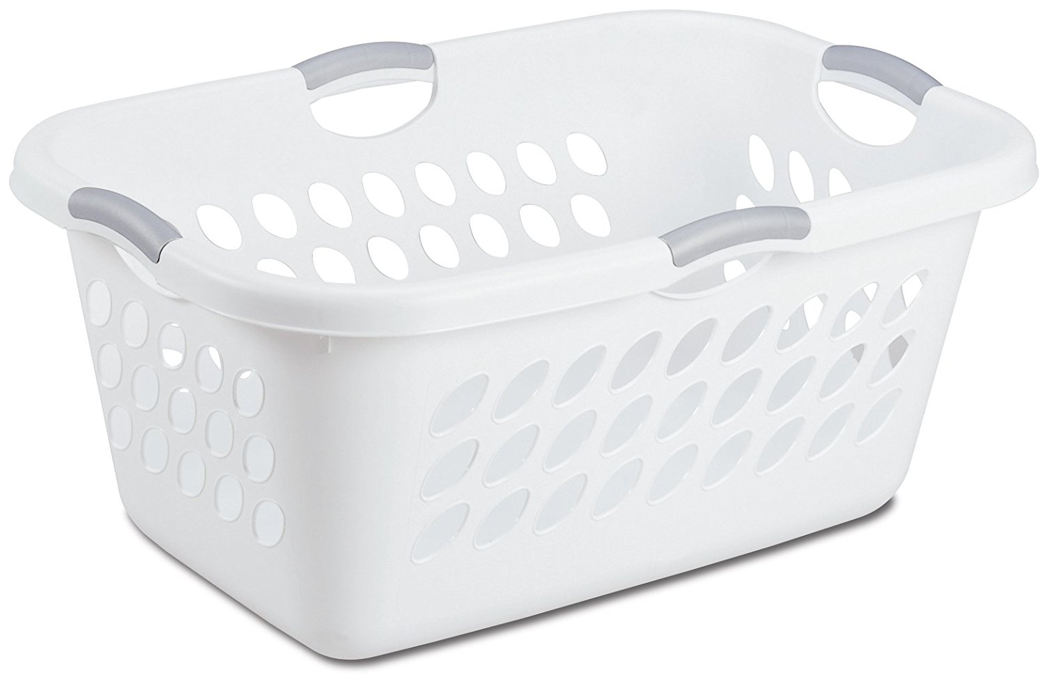 12158006 Ultra Laundry Basket White With Anium Handlese Saving Profile By Sterilite