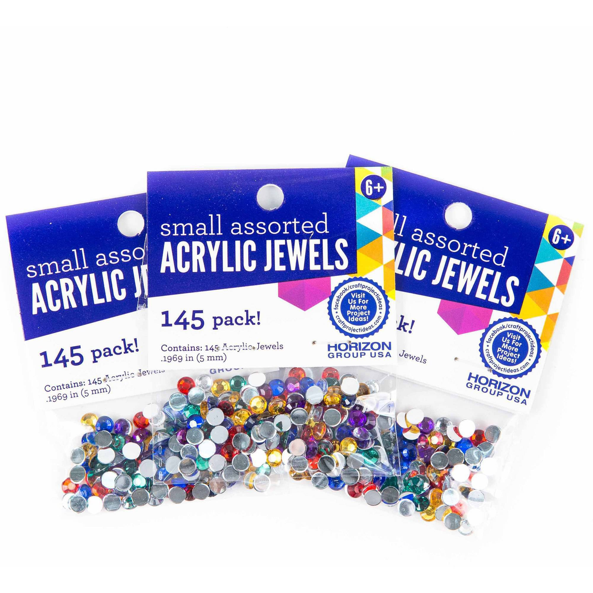 Horizon Group USA Small Assorted Acrylic Jewels 5mm, 3pk