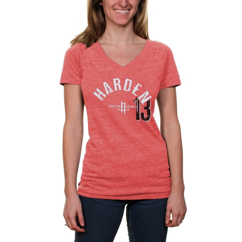 James Harden Houston Rockets Women's Name & Number Tri-Blend V-Neck T-Shirt - Red - L