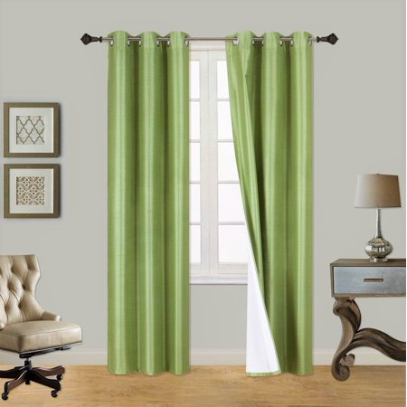 (SSS) 2-PC Lime Green Solid Blackout Room Darkening Panel Curtain Set, Two (2) Window Treatments of 37