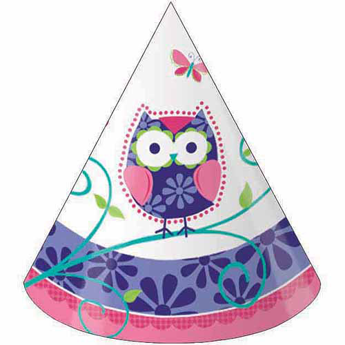 Creative Converting Owl Pal Birthday Party Hats, 8pk