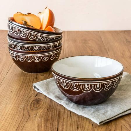 Better Homes & Gardens Brown Medallion Bowls, Set of 4