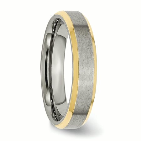 Titanium 5mm Yellow Plated Beveled Edge Brushed/ Wedding Ring Band Size 12.00 Classic Flat W/edge Fashion Jewelry For Women Gifts For Her - image 7 de 10