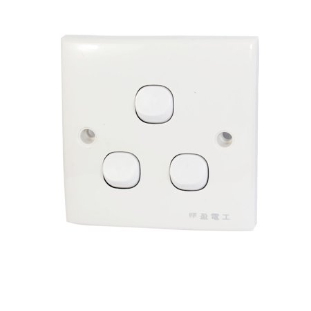 250V 10A 3 Gang Button On/Off SPST Wall Light Switch Plate Panel White