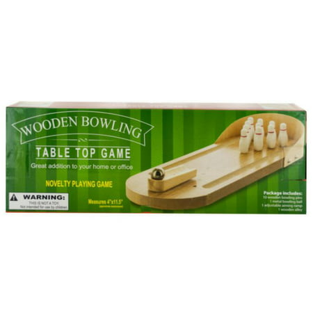Pack of 4 Beige Table Top Wooden Bowling 5-Piece Game Sets 11.75