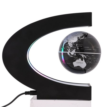 Magnetic Levitation Floating World Map Globe with C Shape Base Rotating Planet Earth Globe Ball Anti Gravity LED Light Lamp Educational Gifts for Kids Home Office Desk Decoration