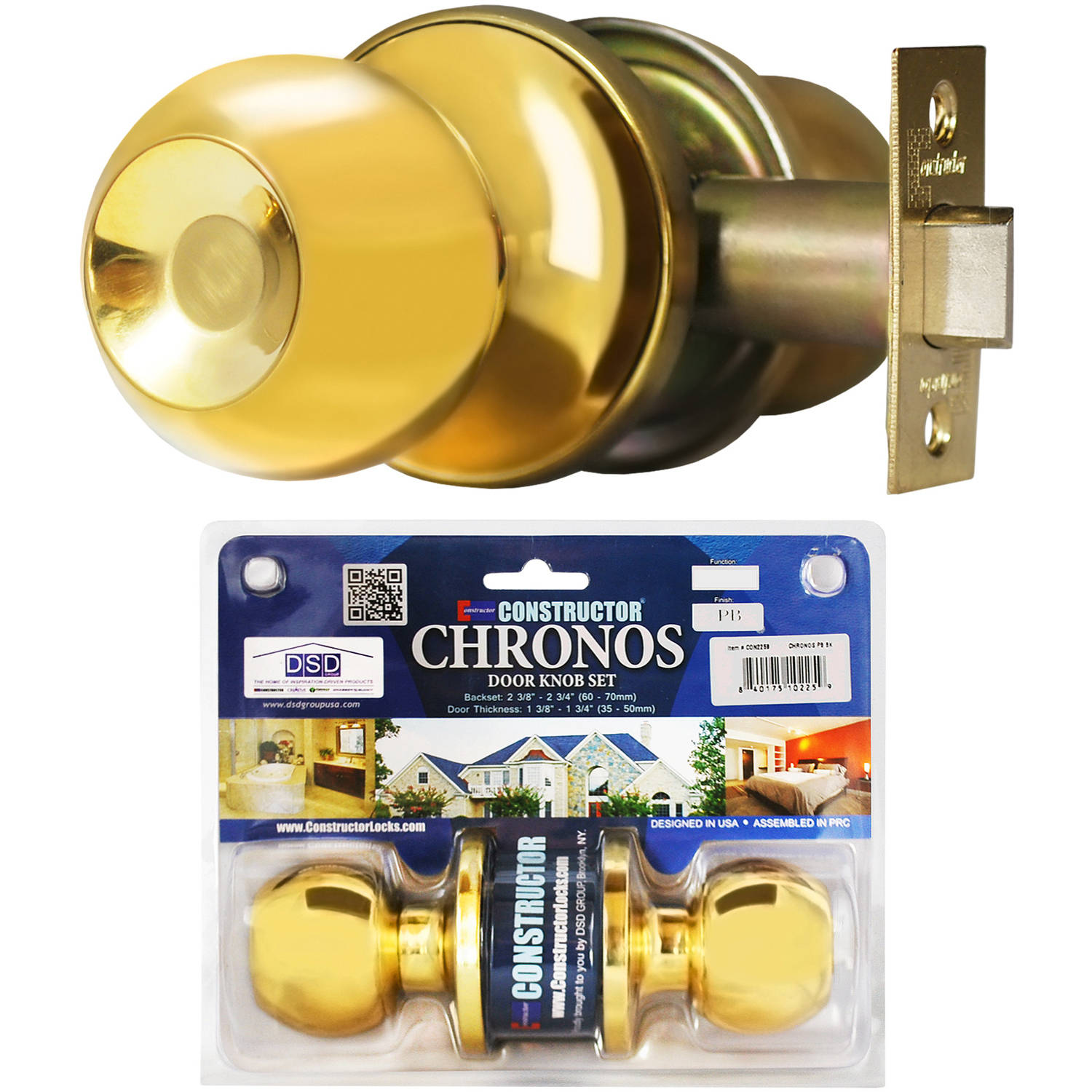 Constructor Chronos Passage Door Knob Handle Lock Set for Hallway and Closet Polished Brass Finish