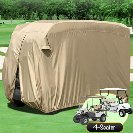 Waterproof Superior Beige Golf Cart Cover Covers Club Car, EZGO, Yamaha, Fits Most Four-Person Golf Carts (1960 Cover)