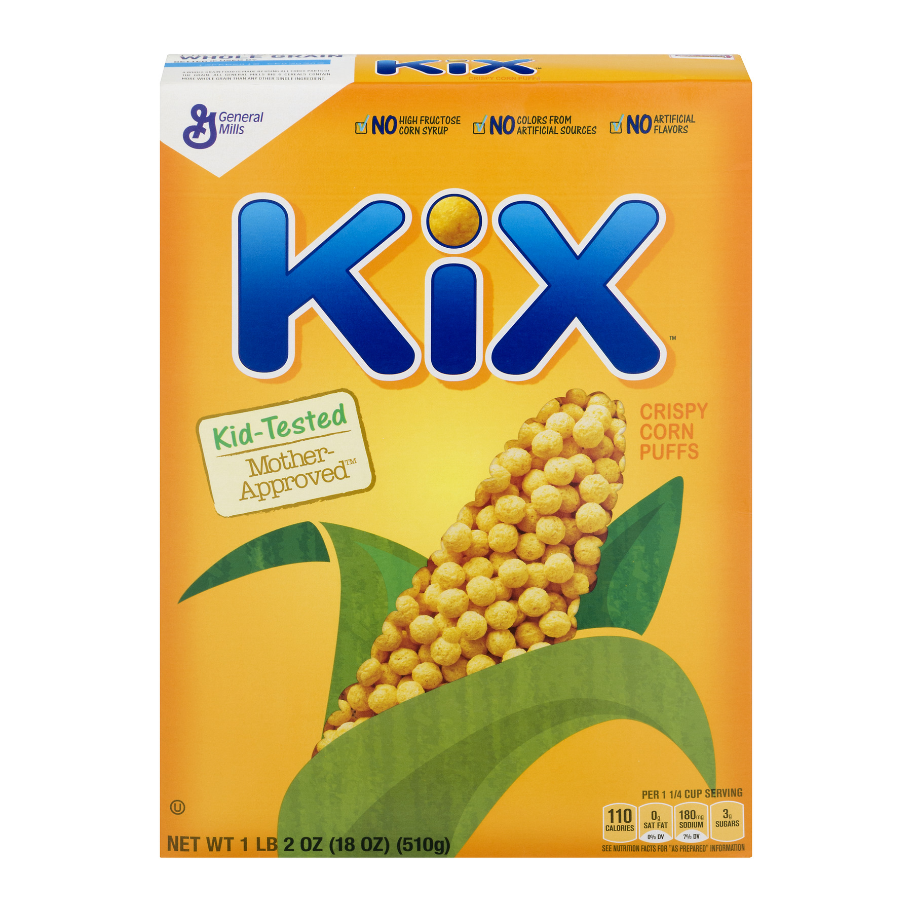 Kix Breakfast Cereal, Crispy Corn Puffs Cereal, 18 oz, 18.0 OZ