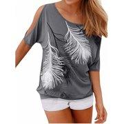 Cold Shoulder Women Print Cotton T-shirts Tee