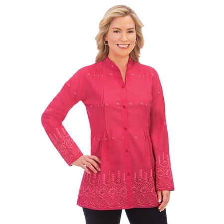 Women's Stylish Eyelet Border Pintuck Button-Front Long Sleeve Tunic with Pleated Bust, Medium,