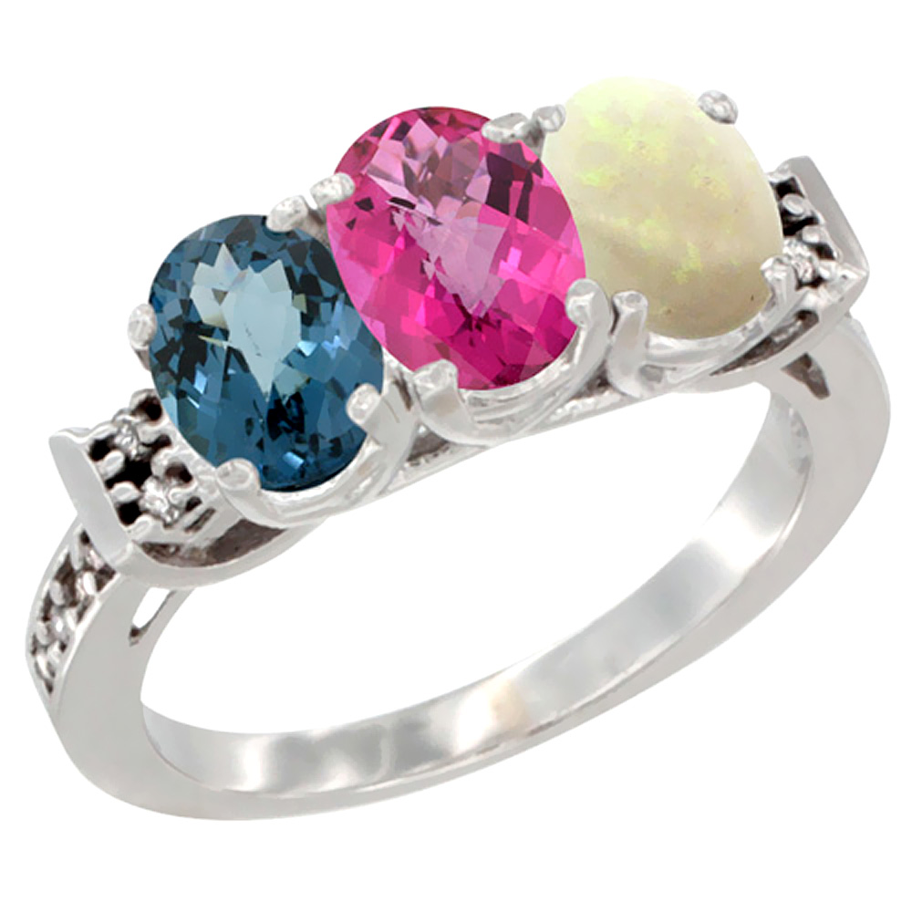 10K White Gold Natural London Blue Topaz, Pink Topaz & Opal Ring 3-Stone Oval 7x5 mm Diamond Accent, sizes 5 10 by WorldJewels
