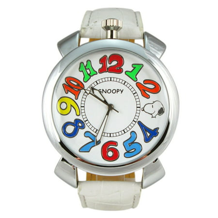 Snoopy White Faux Leather Band Watch w/Colorful Dial Face Numbers (35mm)