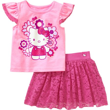 Hello Kitty Toddler Girl Flutter Sleeve Tee and Skirt Outfit Set