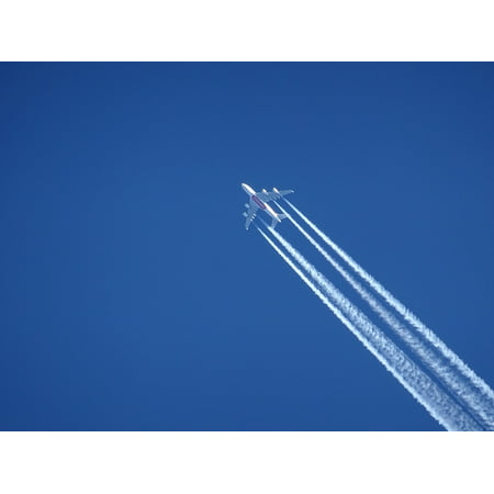 Sky Airlines (Canvas Print Airline Emirates Blue Contrail Clear Sky Aircraft Stretched Canvas 10 x 14 )