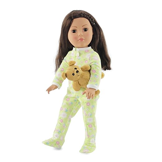 18 Inch Doll Soft Green Footed Heart Pajamas and Teddy Bear | Clothes Fit American Girl... by Emily Rose Doll Clothes