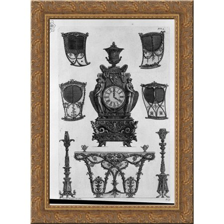 Four sides of the sedan, a clock, two candlesticks, table wall 20x24 Gold Ornate Wood Framed Canvas Art by Piranesi, Giovanni