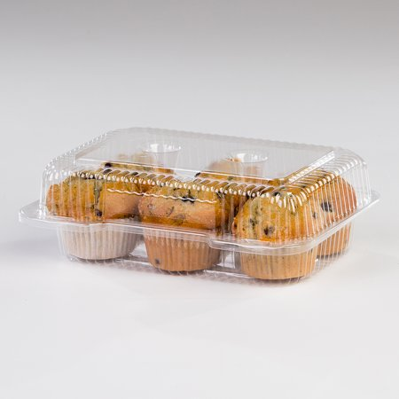 Detroit Forming LBH-6646 6 Compartment Clear OPS Plastic Hinged Cupcake Muffin Container, 9 x 3 x 3 | 350/Case