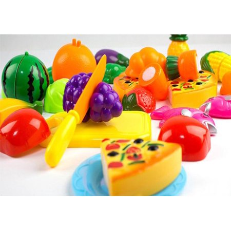 24 Pieces Kitchen Dinner Cutting Treats Fun Play Food Set Living Toys for Kids (Halloween Fun Food For Kids)