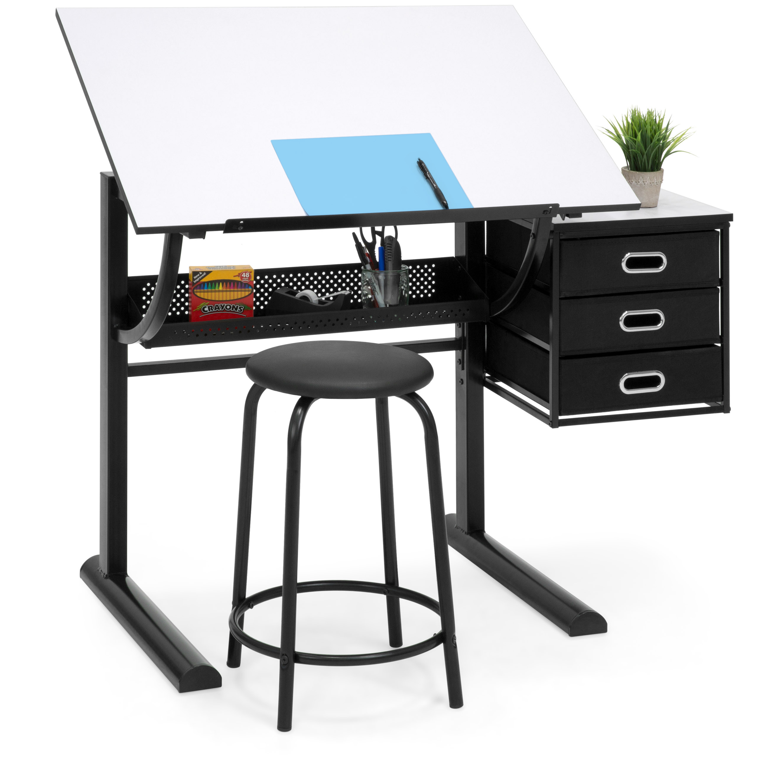 Charmant Best Choice Products Drawing Drafting Craft Art Table Folding Adjustable  Desk W/ Stool   Black