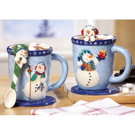 6 Pc Winter Holiday Snowman Mugs Set Spoon & Coasters Hot Chocolate Coffee Tea Cups Ceramic Christmas Gift Stocking Stuffer Kitchen Decor Christmas Coffee Cup
