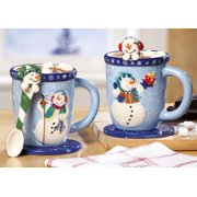 6 pc winter holiday snowman mugs set spoon coasters hot chocolate coffee tea cups ceramic - Cheap Christmas Mugs