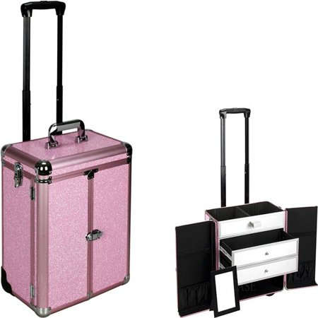 Sunrise E6306KLPK Pink Krystal Large Drawer Trolley Makeup Case