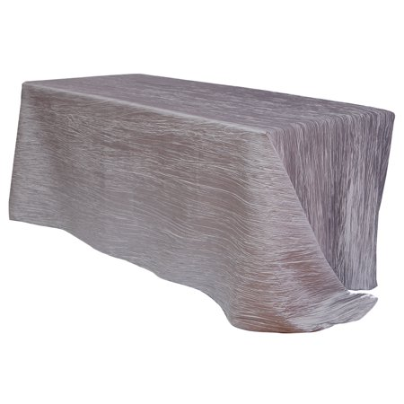 Your Chair Covers - 90 x 132 inch Rectangular Crinkle Taffeta Tablecloth Dark Silver / Platinum for Wedding, Party, Birthday, Patio, etc.