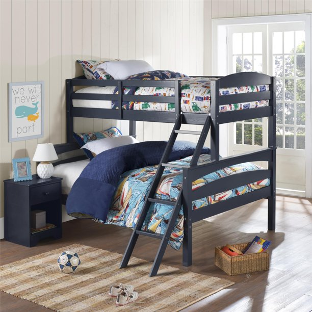Better Homes & Gardens Leighton Wood Twin-Over-Full Bunk Bed, Blue
