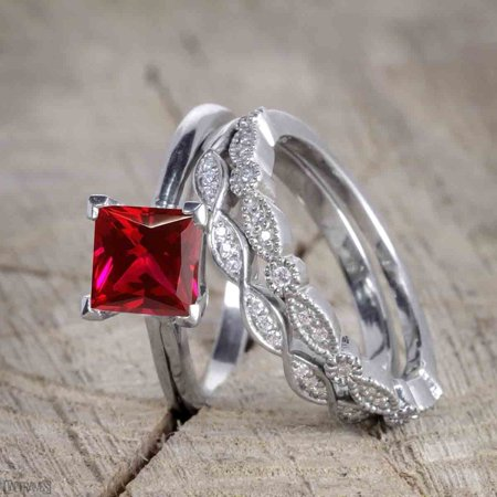 Beautiful 1.5 Carat Princess Cut Real Ruby and Diamond Wedding Trio Ring Set with Engagement Ring and 2 Wedding Bands in 18k Gold Over Sterling - Square Cut Ruby