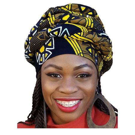 Black, yellow African Print Ankara Modu Hat Pre-tied Head wrap - Yellow Alpine Hat