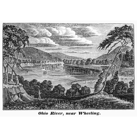 West Virginia Ohio River Nohio River Near Wheeling West Virginia Wood Engraving C1840 Poster Print By Granger Collection
