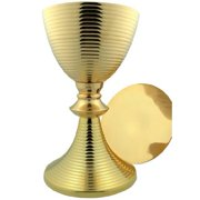 Religious Minister Gift 24KT Gold Tone Brass Ring Design Contemporary Chalice Paten Set