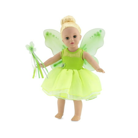 18 Inch Doll Clothes | Magical Tinkerbell Inspired Fairy Princess Doll Halloween Costume with Jeweled Accents, Removable Wings, and Magic Wand | Fits American Girl Dolls