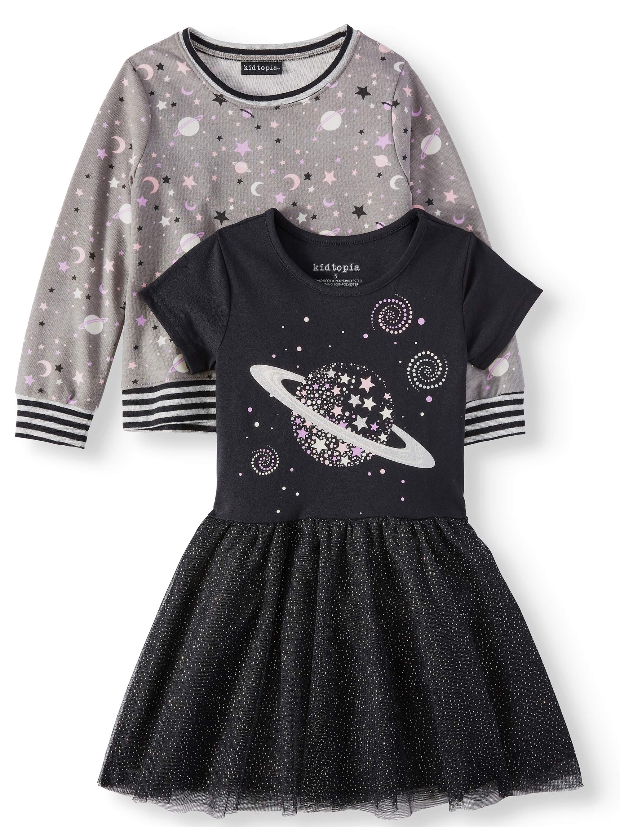 KidTopia Jersey Mesh Dress and Sweatshirt Mix and Match, 2-Piece Set (Little Girls)