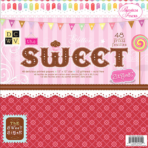 Diecuts with A View Sweet Paper Stack, 12-inches-by-12-inches, 48-Sheets/Pad