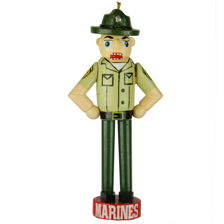 "4.75"" Patriotic U.S. Marine Drill Sergeant Christmas Nutcracker Ornament"