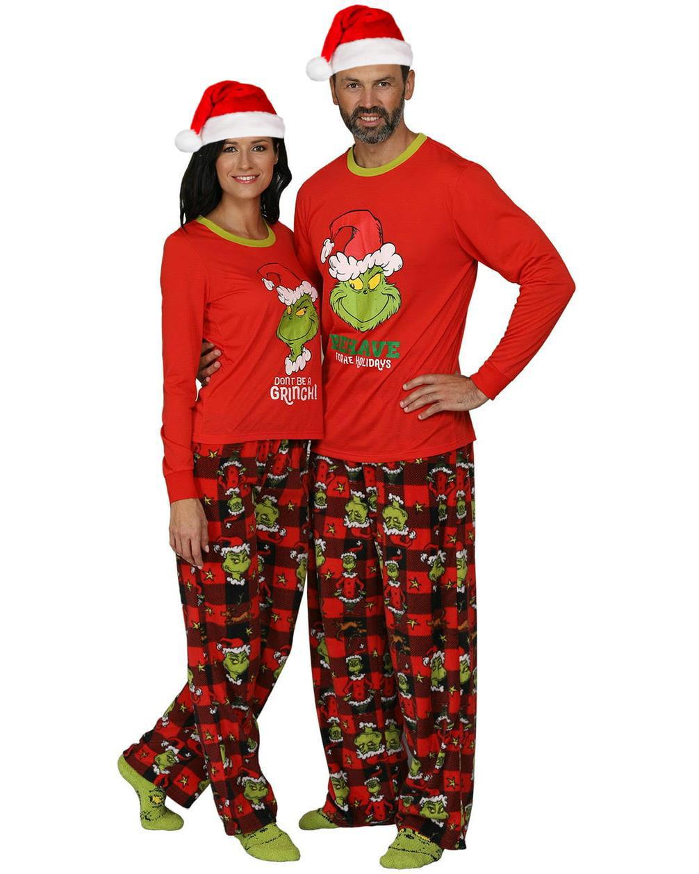 The Grinch Dr Seuss Men/'s Long Pyjama Set T-shirt /& Bottom Xmas Soft Pj/'s