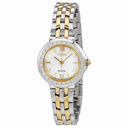 (Citizen Ladies Stainless Steel and Diamond Eco Drive Two Tone Watch)