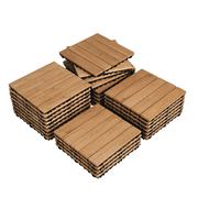 """SmileMart Indoor & Outdoor Wood Flooring 12"""" x 12"""" Tiles for Patio Garden, 27 Pieces, Natural Wood"""