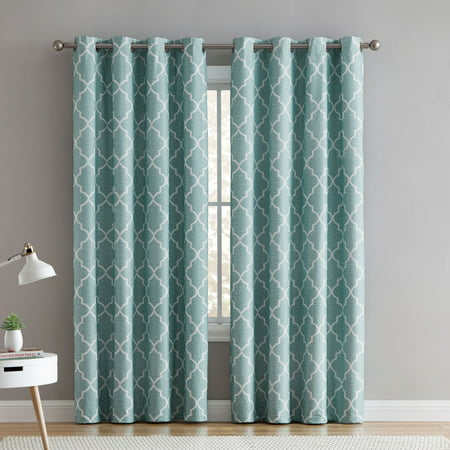 VCNY Home 2 Pack 100% Total Blackout Thermal Insulated Energy Saving Grommet Curtains - Aqua, 96 in. Long ()