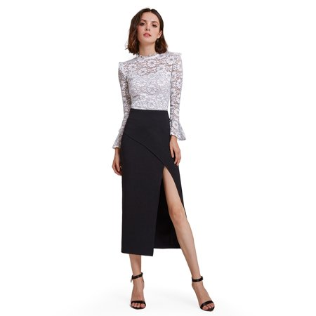 Alisa Pan Womens Sexy High Waisted Career Suit Midi Skirt with Thigh High Slit Wear to Work for Women 01148 US 4 Career Skirt Suit