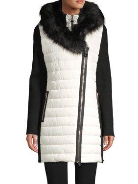 Faux Fur-Trim Hooded Jacket