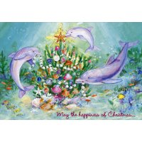Red Farm Studios Three Dolphins Box of 18 Tropical Christmas Cards
