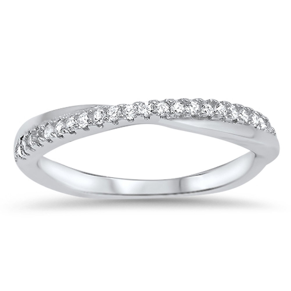 Infinity Knot White CZ Wedding Ring ( Sizes 4 5 6 7 8 9 10 ) New .925 Sterling Silver Band Rings by Sac Silver (Size 7)