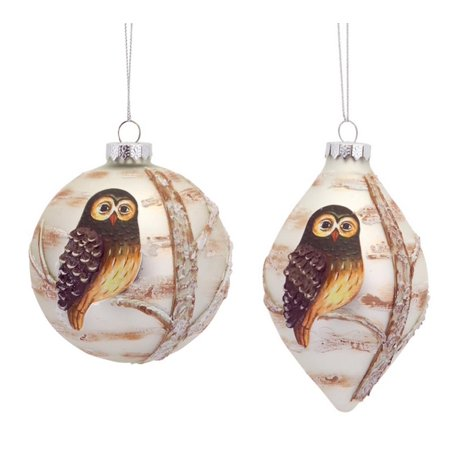 Pack of 6 Woodland Owl Embellished Painted Glass Ball and Drop Christmas Ornaments