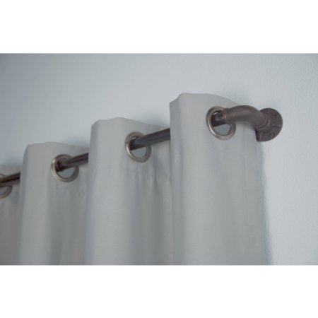 """Bali 1"""" Industrial Curtain Rod Set, 36-66"""" or 66""""-120"""", Available in Multiple Colors"""